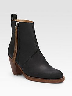 Low Heel Bootie: Acne Contrast Pistol Leather Ankle Boots