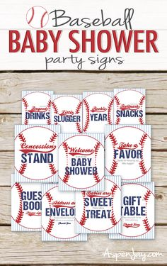 Baseball Baby Shower Table Signs - Instant Download - 11 SIGNS! - Baseball Baby Shower decor - Favor Sign, Welcome Sign, baseball signs by AspenJayDesigns on Etsy https://www.etsy.com/listing/559414959/baseball-baby-shower-table-signs-instant