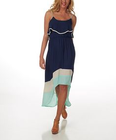 Love this Navy Blue & Mint Green Color Block Ruffle Hi-Low Dress by Pinkblush on #zulily! #zulilyfinds