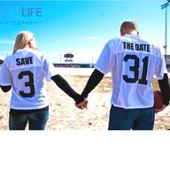 save the date football jerseys! I love this idea; Because I love my boyfriend & He loves football & Hockey!