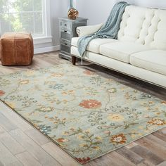 Found it at Joss & Main - Carlotta Blue Floral Wool Hand-Tufted Area Rug