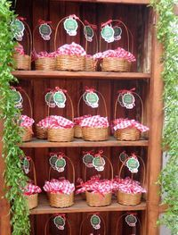 basket party favors for a woodland or picnic theme