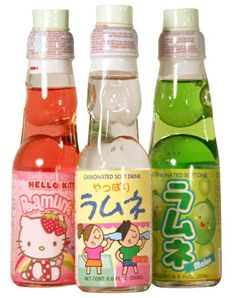 Ramune soda.  Tasty treat that has a marble as a seal in the top of the bottle.