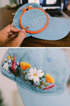 Silk Ribbon Embroidery Flowers Custom embroidered hats by Lexi Mire // hand embroidery - Lexi Mire unexpectedly tapped into a market for custom embroidered hats. Learn how her business is booming and she stays sane despite the popularity. Hand Embroidery Stitches, Silk Ribbon Embroidery, Hand Embroidery Designs, Embroidery Art, Cross Stitch Embroidery, Machine Embroidery, Embroidery Sampler, Embroidery Supplies, Embroidery Techniques