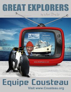 Jacques Cousteau & research vessel Calypso on TV