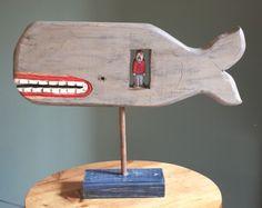 whimsical whale. folk art - jonah.