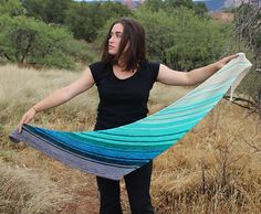 Color Wash is a lovely triangle shawl that is knit sideways, with a curve to it.