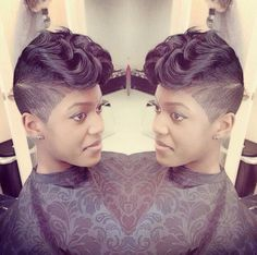 Cut and Styled to Perfection - Black Hair Information Short Sassy Hair, Short Hair Cuts, Short Hair Styles, Short Pixie, Pixie Styles, Mohawk Styles, Pixie Cut, Curly Pixie, Love Hair