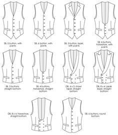 Every aspect of your made to measure waistcoat can be customised to your personal preference. The garment is made to your body measurements. Dress Design Sketches, Fashion Design Drawings, Fashion Sketches, Drawing Fashion, Waistcoat Designs, Types Of Suits, Drawing Anime Clothes, Fashion Terms, Fashion Dictionary