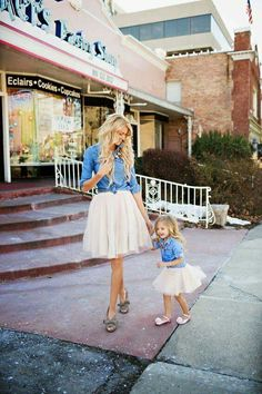 Mommy and me matching chambray and white tulle skirt outfits