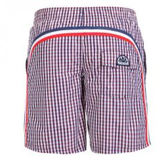 MICRO VICHY LONG BOARDSHORT - Polyester long boardshorts with micro vichy print with the three traditional rainbow bands on the back, adjustable elastic waist, internal mesh, pocket on the back with Velcro, Sundek logo on the back. #sundek #beachwear #beach #sales #mrbeachwear #boardshort #men #summer #sun #vichy