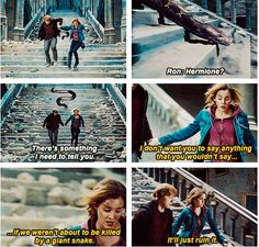 Harry Potter an the Deathly Hallows // Hermione Granger // Ronald ( Ron ) Weasley Severus Hermione, Ron And Hermione, Hermione Granger, Ron Weasley, Draco, Harry Potter Jokes, Harry Potter Fandom, Deathly Hallows Part 2, Mischief Managed