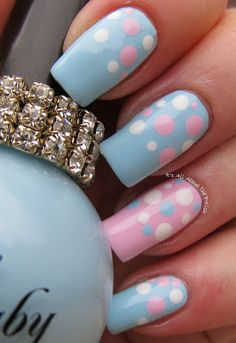 pink & blue polkadots It's all about the polish: Pregnancy and Infant Loss - Wave of Polish Dotticure Fabulous Nails, Gorgeous Nails, Love Nails, Pretty Nails, Baby Shower Nails, Baby Nails, Baby Nail Art, Gender Reveal Nails, Dot Nail Designs