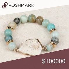 Natural beaded bracelet with stone Electroplated Natural stone centerpiece with natural beads in mint -beautiful Jewelry Bracelets