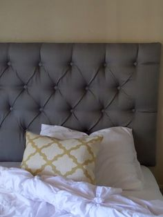 King Chenille Tweed Neutral Tufted Upholstered Headboard Custom Wall Mounted The Frog Pinterest Mount And