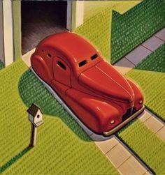 Flying the Coupe by Robert LaDuke Retro Art, Vintage Art, Art Deco Paintings, Paintings Online, Nostalgia Art, Art Optical, Optical Illusions, Art Deco Posters, Edward Hopper