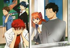Gekkan Shoujo Nozaki-kun . HILARIOUS !!!!!! The guy with the blue hair over there is a girl ( so every one is strait: ) )