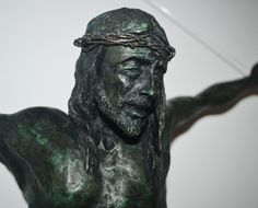 #Bronze #sculpture by #sculptor Jos� Miguel Franco de Sousa titled: 'Christ Crucified (Small Crucficition statue)'. #Jos�MiguelFrancodeSousa