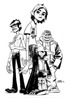 A commission i did of the Gorillaz. Drawing these guys was quite a treat. If it isn't obvious I'm a huge fan of Jaime Hewlett.
