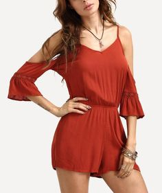 Cold Shoulder Bell Sleeve Lace Up Back Romper - Zooomberg