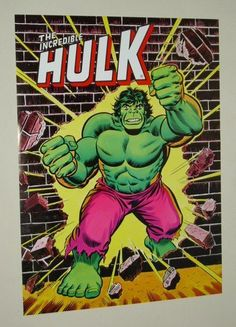 Original 1978 Marvel Comics 24 x 18 Hulk poster 1: Romita art/1970's Marvelmania