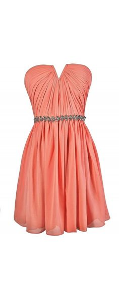 Ice Queen Embellished Chiffon Dress in Bright Peach  www.lilyboutique.com