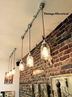Industrial Kilner hanging mason jar lights ceiling dinning room office kitchen table vintage edison filament lamps pendant dinner cafe bar