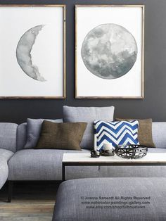 Moon Phase Drawing set of 2 Moon Art Prints Full Moon