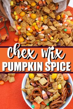 Pumpkin Spice Chex Mix- Salty and sweet Chex Mix treat! Trail Mix Recipes, Snack Mix Recipes, Appetizer Recipes, Appetizers, Chex Party Mix Recipe, Chex Recipes, Yummy Snacks, Fall Snack Mixes, Fall Snacks