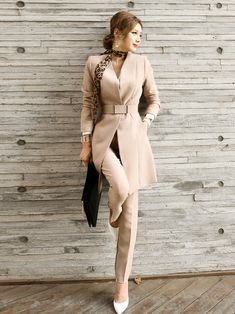 Pant Suits Spring Autumn Office Lady Business Formal Work Blazer Trousers 2 Piece Set Outfits Long Jacket Suit Khaki S 2 Piece Outfits, Chic Outfits, Fall Outfits, Office Outfits, Fashion Outfits, Pants For Women, Jackets For Women, Clothes For Women, Formal Suits For Women