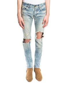 8afbc6760a9 SAINT LAURENT Low-Waist Repaired Skinny Jeans, Vintage Dirty Blue. # saintlaurent #cloth #