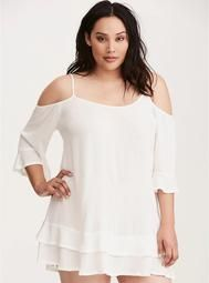 17eb3482ce2fc Voile Cold Shoulder Swim Cover Up. Plus Size ...