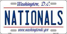 Nationals Washington DC State Background Metal Novelty License Plate