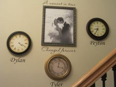 LOVE!!! Clocks set to time of children's births with names underneath by Paul Tanner