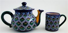 Deruta Italian Pottery Assunta Teapot with matching mugs