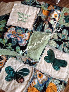 Believe Hope Love Quilt Butterfly Rag by RagQuiltsnPillowsUSA