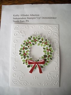 Kathy's Stamp Camp September 2014 - Card #3 - Wondrous Wreath Stamp Set and matching thinlits, Filigree Frame EF