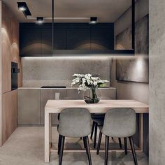 36 Popular Minimalist Kitchen Design Ideas You Never Seen Before - e really have come a long way in cooking and kitchen designs. A modern kitchen is now quite different to early kitchens thanks to developments in elec. Small Modern Kitchens, Modern Kitchen Design, Interior Design Kitchen, Modern Interior Design, Home Kitchens, Kitchen Decor, Kitchen Office, Kitchen Ideas, Regal Design