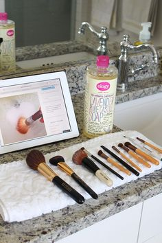 The best way to clean makeup brushes: most inexpensive way to clean makeup brushes uses Castile soap ~  http://www.asliceofstyle.com/2015/01/the-best-way-to-clean-makeup-brushes.html