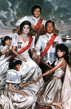 The portrait then-First Lady of the Philippines Imelda Marcos comissioned from American society/international 'Jet Set' painter Ralph Cowan of her family. Jet Set, President Of The Philippines, Filipino Art, Filipiniana, Wolf Spirit, Gone With The Wind, Hollywood Celebrities, Jaba, Art History