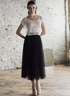 Black Pleated Tulle Netted Skirt,  Skirt, Black Tulle Skirt  Pleated long black, Chic