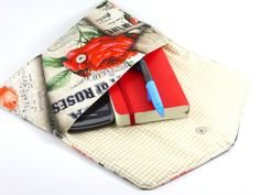 Cotton and linen  fabric  clutch retro design  free by HirasuCraft, $39.00