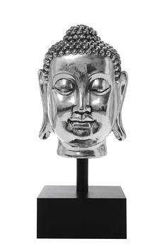 KARE Design Deko Kopf Buddha Silver XL aus Polyresin, MDF und Metall. #KARE #KAREDesign