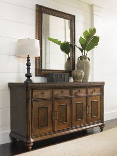 Image result for decorating a dining room using a mirror and buffet