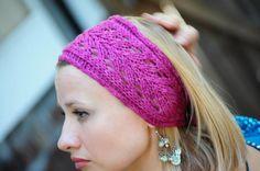 Free Knitted Headband Patterns | Pink Lace Headband by NiseyKnits | Knitting Ideas
