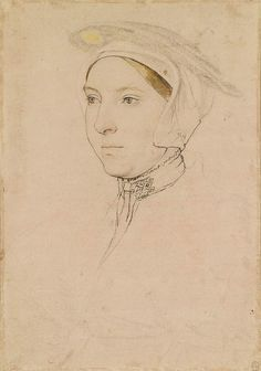 Hans Holbein the Younger An unidentified woman Black and coloured chalks, white bodycolour, black and brown wash, pen and ink, and brush and ink on pale pink prepared paper Portrait Sketches, Portrait Art, Portrait Paintings, Pencil Portrait, 16th Century Clothing, Hans Holbein The Younger, Landsknecht, The Royal Collection, Renaissance Era