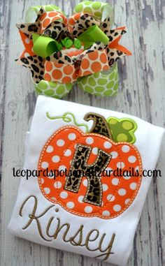 Pumpkin Patch Embroidered Shirt  Girls Pumpkin by LeopardDIVAS, $25.00