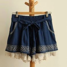 Drawstring Embroidery Design Color Block Wide Leg Lace Splicing Panskirt For Women