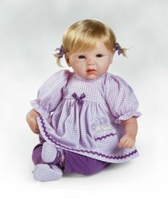 """Lifelike and Realistic Baby Doll, Pocket of Posies, 19 inch GentleTouch Vinyl (Artist: Michelle Fagan) by Paradise Galleries. $79.50. Size: Approx. 19"""" Head to Toe. Material: GentleTouchTM Vinyl and Weighted Cloth Body. Eye Color - Blue; Hair Color - Blonde. Vinyl Arms - ¾ Length; Vinyl Legs - Full Length. Artist: Michelle Fagan. Weighted Body for a """"Real"""" Baby Feel!   Summer may not always be here, but don't you think a walk outside, picking posies with this f..."""