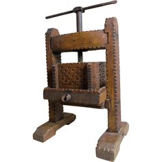 Cider Press Model, Tramp Art, Chip Carved Oak, American, Late 19th Century